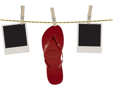 Beach flip flops on a rope with photos