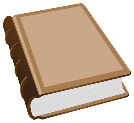 가죽 바인딩과 두꺼운 책. 벡터 일러스트 레이 션.