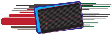 Banner for cardiology with an element of the cardiogram on which the heart stopped.
