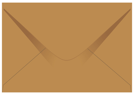 Standard mail envelope made from coarse brown paper, isolated on white background. Иллюстрация