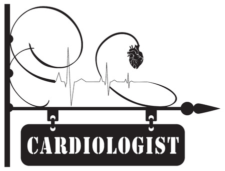 Street pointer to the cardiologist service. The index is made in a vintage style with the use of the heart symbol and cardiogram. Иллюстрация