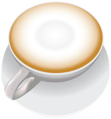 A white cup with cappuccino, a cup is on a saucer.