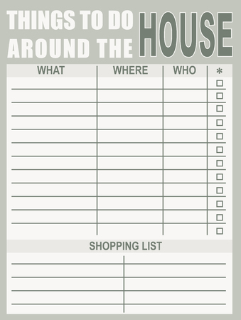 Blank Things to Do Around the House vector illustration. Illusztráció