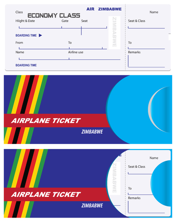 Air ticket for Zimbabwe Airlines with an envelope