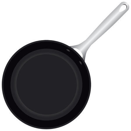 Classic frying pan with a handle. Vector illustration.