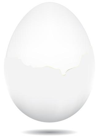 흰 셸에서 삶은 달걀, 셸에서 부분적으로 벗 겨 계란.