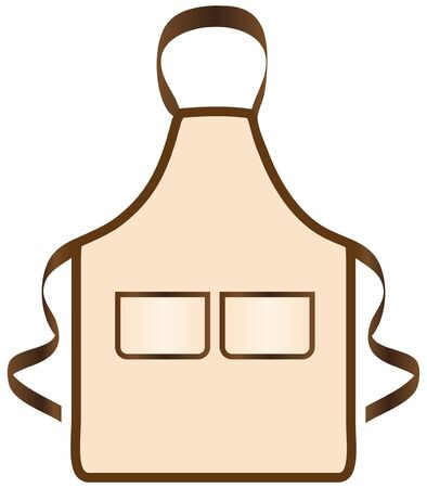 Apron with two pockets for the kitchen. Vector illustration.