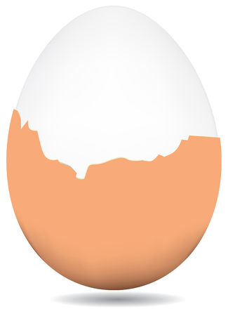 Partially peeled boiled egg, brown shell. Vector.