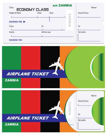 Air ticket for Zambia Airlines with an envelope