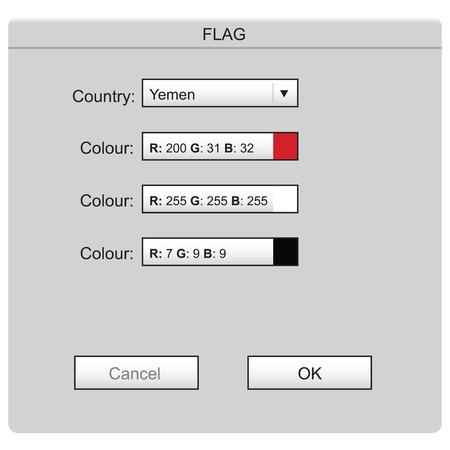 Colored laying of the national flag Yemen Illusztráció