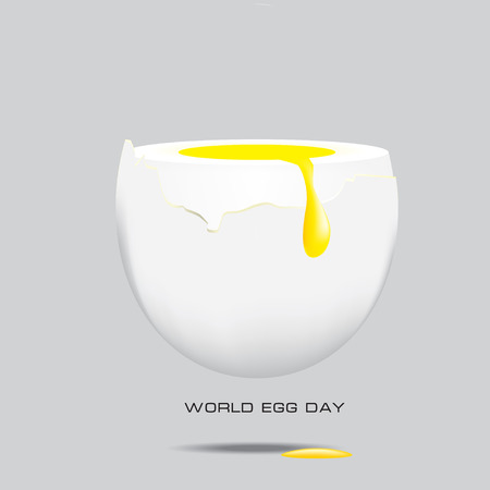 Egg yolk draining over the egg whites of chicken eggs. World Egg Day poster.