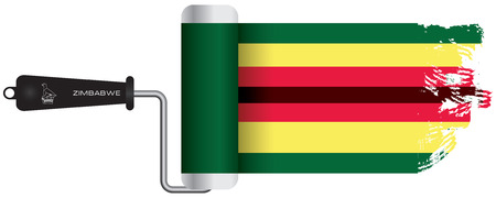 Paint roller to paint with simulated paint Zimbabwe flag