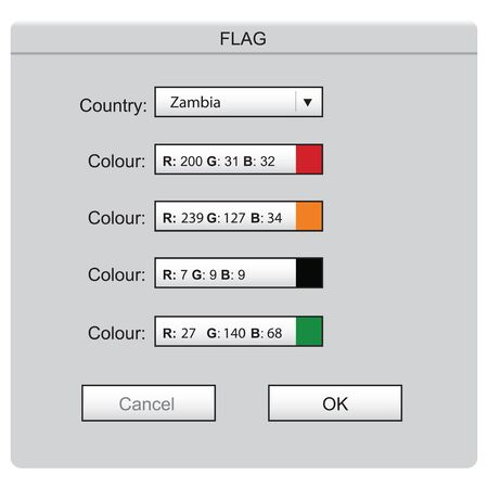 Colored laying of the national flag Zambia