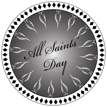 Stylized print imprint to the Day of All Saints with candles arranged in a circle.