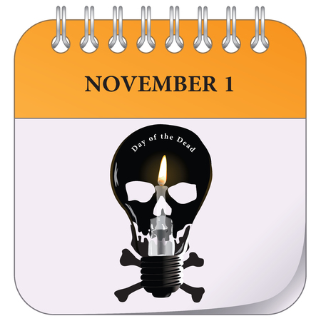 The first of November is Day of the Dead. Calendar page for the event Иллюстрация