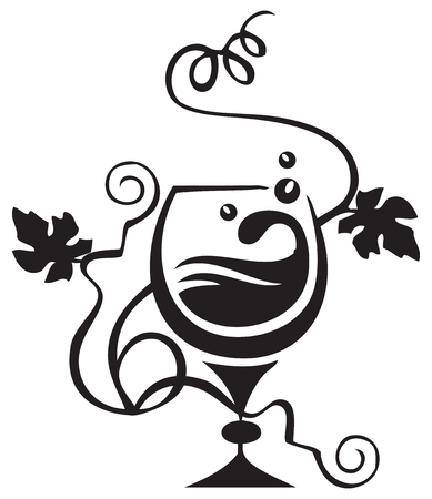 A cognac glass with cognac and grapevine. Vector illustration.