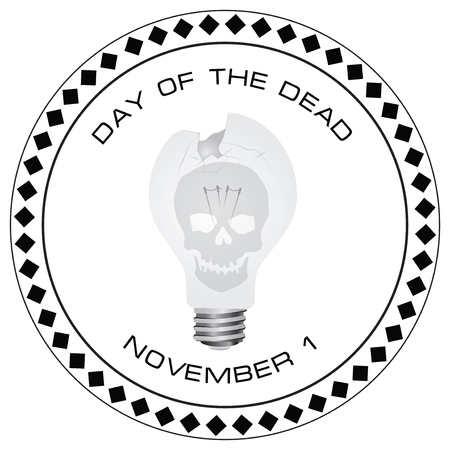 Creative stamp Day of the Dead with a broken light bulb, celebrated on November 1st. Иллюстрация