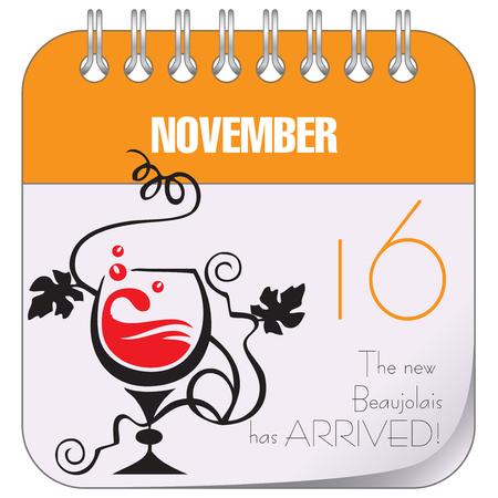 November 16 - New Beaujolais has arrived - young wine festival in France Illusztráció