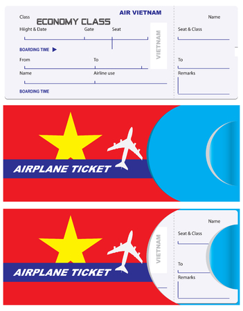 Ticket of economy class with a service envelope. Vietnamese Airlines, envelope for a ticket with the flag of the country.