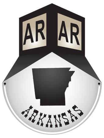 Vintage street sign for the state of Arkansas Illusztráció