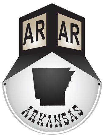 Vintage street sign for the state of Arkansas Иллюстрация