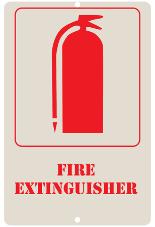 Sign board in a wall featuring Fire Extinguisher is clearly displayed