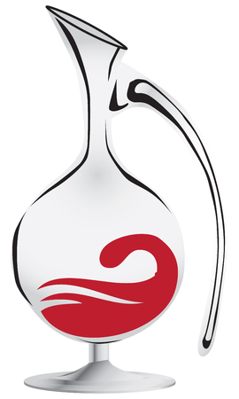 Glass wine decanter with red wine. Vector illustration.