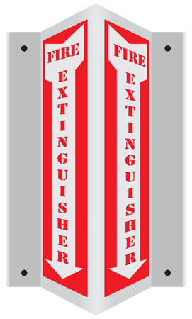 Emergency fire extinguisher wall sign. Vector illustration.