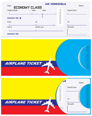 Ticket of economy class with a service envelope. Venezuela Airlines, envelope for a ticket with the flag of the country. Иллюстрация