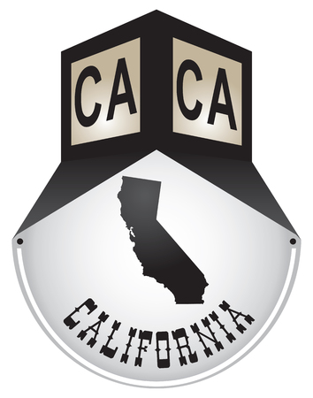 Vintage street sign for the state of California Иллюстрация