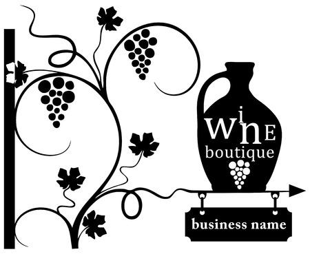 Business - wine boutique, street sign. Vector illustration.