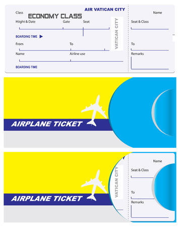 Ticket of economy class with a service envelope. Vatican City Airlines, envelope for a ticket with the flag of the country. Illusztráció