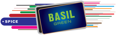 Banner for spices - basil. Vector for creative work.
