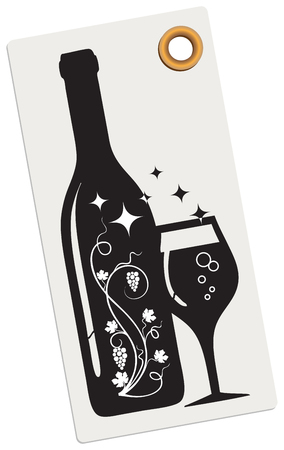 Creative label for a wine boutique. A bottle with a wine glass and a vine. Иллюстрация