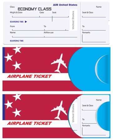 Ticket of economy class with a service envelope. United States Airlines, envelope for a ticket with the flag of the country.