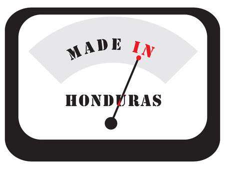 Symbolic Sign - Made in Honduras, in the form of an electronic scale measuring device. Illustration