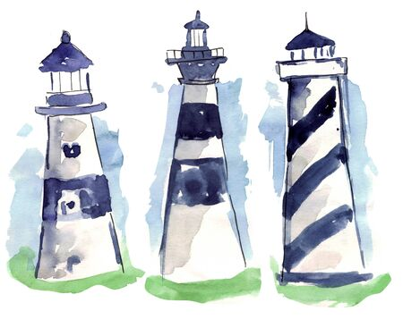 lighthouse on blue background of sea and sky, watercolor illustration sketch