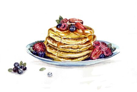 Sweet pancakes on plate, maple syrup, blueberry, raspberry.