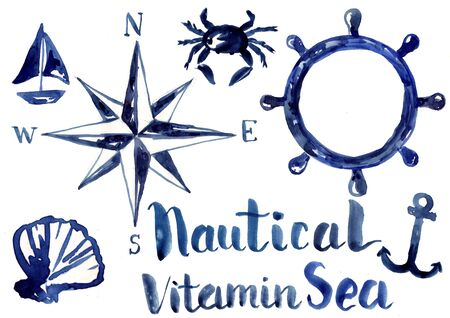 Nautical elements, blue watercolor illustration. Greeting card decoration. Stock fotó - 138071969