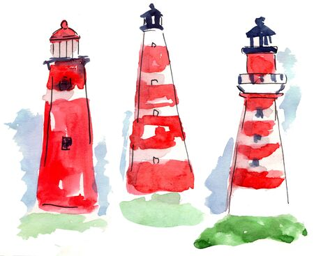 Red lighthouses drawn, diffrent style, watercolor sketch. Nautical design. Town element building. Red color.
