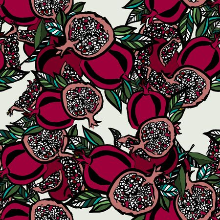 Pomegranate seamless pattern on white background. Fabric design. Kitchen decor. Floral illustration. Hand drawn with inks.