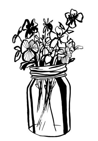 Hand drawn diffrent flowers in mason jar. Vector illustration. Coloring page.