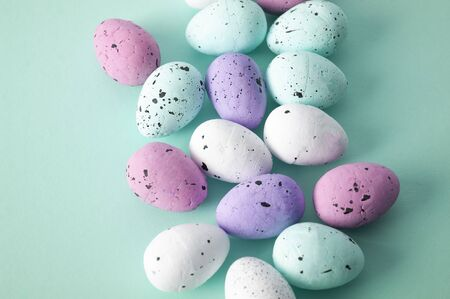 Easter background, eggs on blue backdrop, Greeting card decoration.