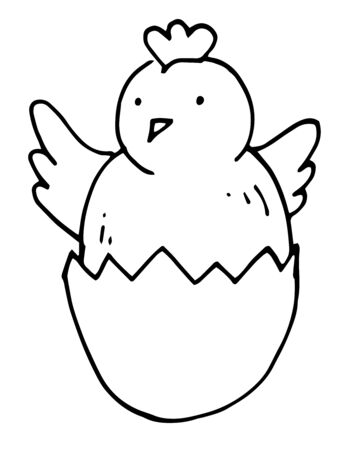 Small cute chick in eggshell, just born, happy easter bird, greeting card design, coloring page for kids.
