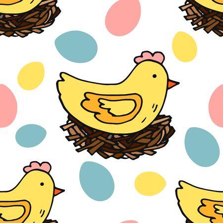 Easter chicken in nest, seamless pattern, kitchen design, farm style.