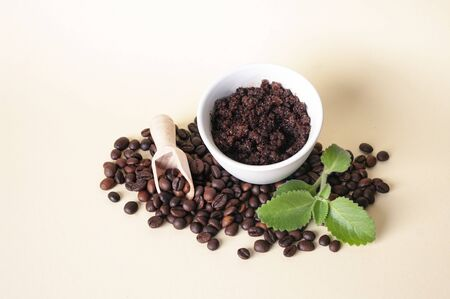 Cofee beans, sugar scrub in ceramic bowl, mint leaves, wooden scoop. Natural home made cosmetics. Skin care.