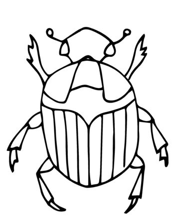 Outline bug, vector icon.Easy coloring book page for kids. Insects, nature. For kinder carden. Illustration