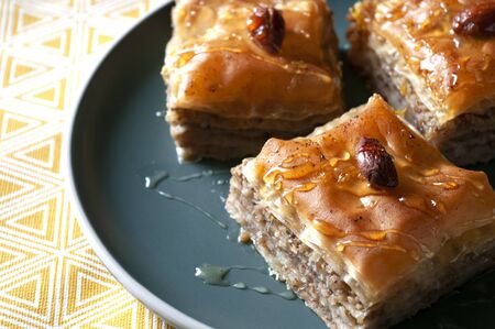 Middle Eastern sweet made from filo pastry, baklava, recipe book, turkish dessert.