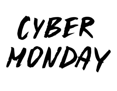 Cyber Monday hand drawn lettering sign. Vector.design for advertising, posters, banners, cards day of online shopping sale, discounts