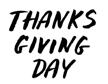 Give Thanks, Thanksgiving day lettering sign. Hand written style. Design for greeting card. Ilustrace